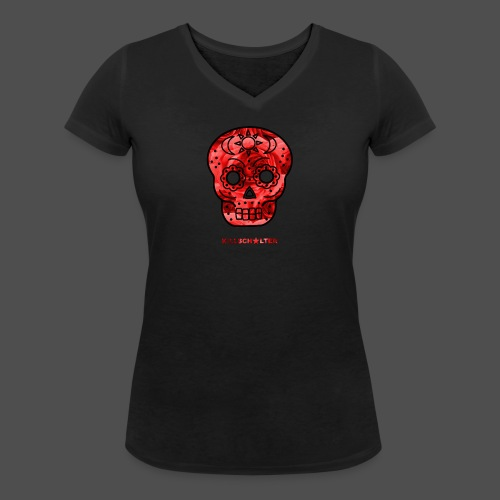 Skull Roses - Women's Organic V-Neck T-Shirt by Stanley & Stella