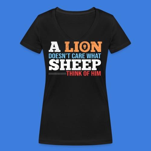 Einen Löwen interessiert nicht, was Schafe denken - Frauen Bio-T-Shirt mit V-Ausschnitt von Stanley & Stella