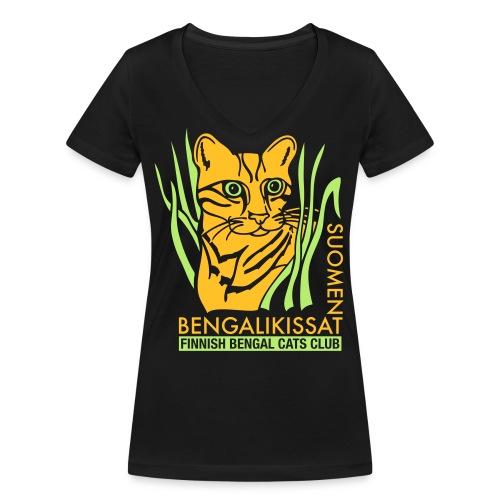 Bengaliligo mustalle - Stanley & Stellan naisten v-aukkoinen luomu-T-paita