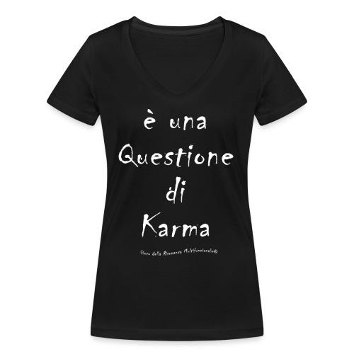 questione di Karma Bianco - T-shirt ecologica da donna con scollo a V di Stanley & Stella