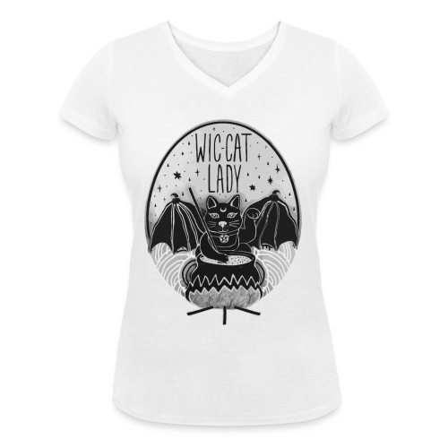 Wic-cat lady halloween shirt - Women's Organic V-Neck T-Shirt by Stanley & Stella