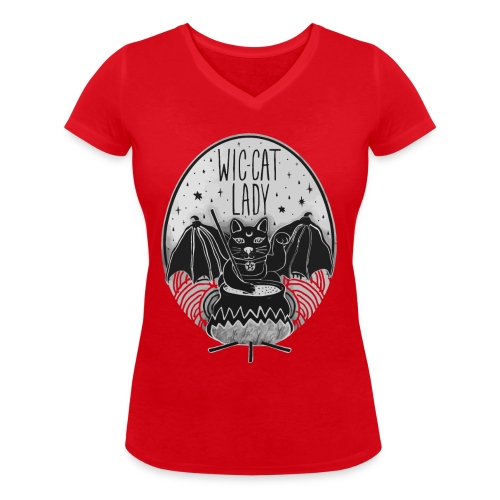 Wic-cat lady halloween shirt - Women's Organic V-Neck T-Shirt by Stanley & Stella