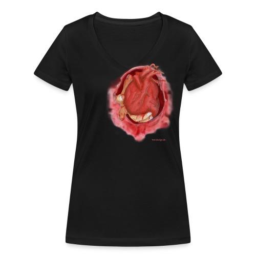 Hand aufs Herz - Frauen Bio-T-Shirt mit V-Ausschnitt von Stanley & Stella