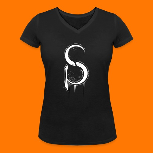SCP-sign-WHITE transp - Women's Organic V-Neck T-Shirt by Stanley & Stella