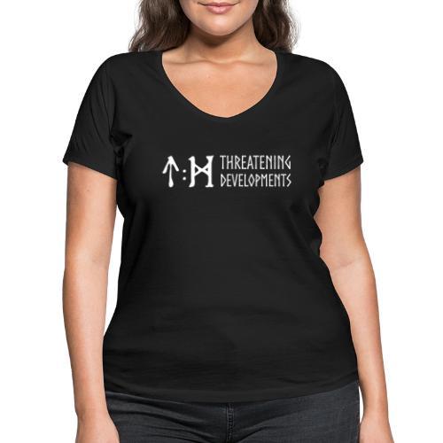 Threatening Developments White Logo - Women's Organic V-Neck T-Shirt by Stanley & Stella