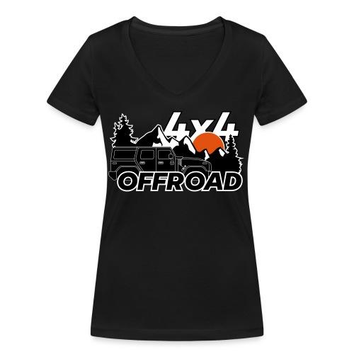 Offroad 4x4 Jeep Logo - Frauen Bio-T-Shirt mit V-Ausschnitt von Stanley & Stella