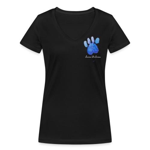 Tierfreund Choose Kindness Hundepfote Wasserfarben - Frauen Bio-T-Shirt mit V-Ausschnitt von Stanley & Stella