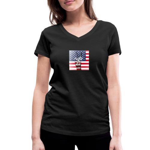 Fresh and Nice America - Frauen Bio-T-Shirt mit V-Ausschnitt von Stanley & Stella