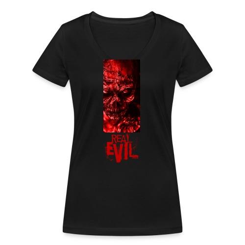 real evil - Women's Organic V-Neck T-Shirt by Stanley & Stella