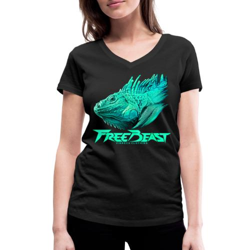 VINRECH CLOTHING FREE BEAST Iguana Turquoise - T-shirt bio col V Stanley & Stella Femme
