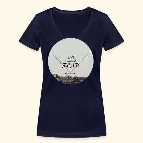 Eat, Sleep, Read - Ekologisk T-shirt med V-ringning dam från Stanley & Stella