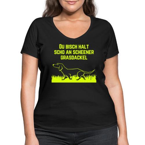 Grasdackel - Frauen Bio-T-Shirt mit V-Ausschnitt von Stanley & Stella