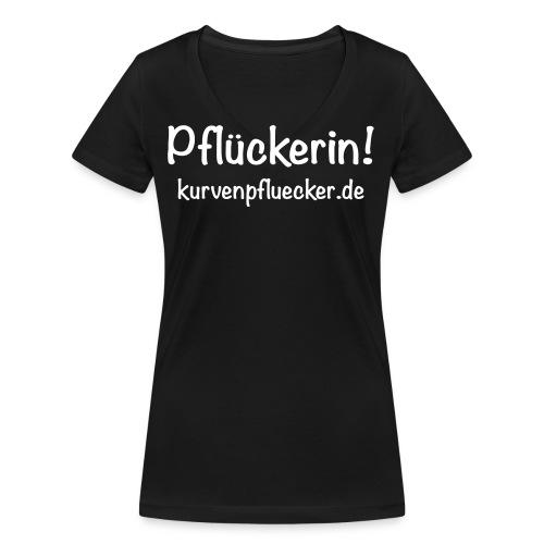 SVG Pflückerin url white - Frauen Bio-T-Shirt mit V-Ausschnitt von Stanley & Stella