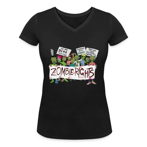 Zombie Rights Demo - Women's Organic V-Neck T-Shirt by Stanley & Stella