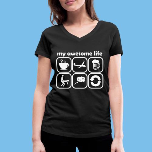 Leben Segelflieger Segelflugzeug gleiten lustig - Frauen Bio-T-Shirt mit V-Ausschnitt von Stanley & Stella
