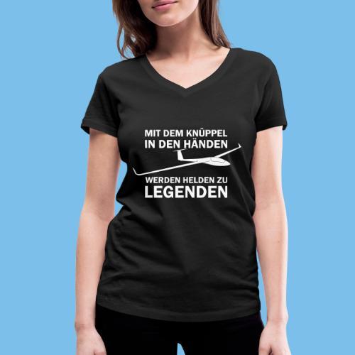 Lustiger Spruch Segelflugzeug fliegen Segelflieger - Frauen Bio-T-Shirt mit V-Ausschnitt von Stanley & Stella