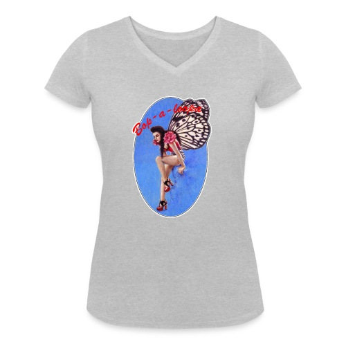 Vintage Rockabilly Butterfly Pin-up Design - Women's Organic V-Neck T-Shirt by Stanley & Stella