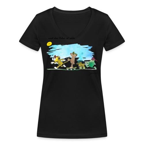 Janosch Tiger Und Freunde Das Leben Ist Schön - Frauen Bio-T-Shirt mit V-Ausschnitt von Stanley & Stella