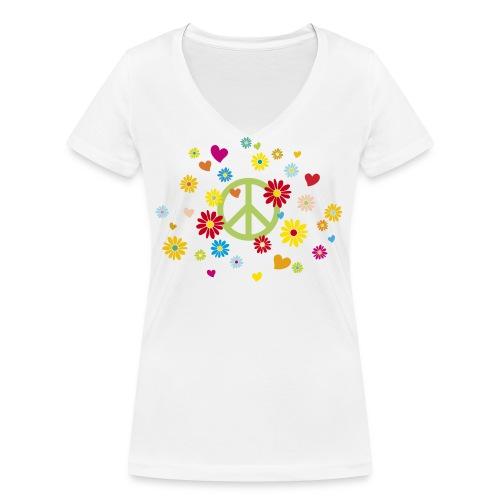 Peacezeichen Blumen Herz flower power Valentinstag - Women's Organic V-Neck T-Shirt by Stanley & Stella