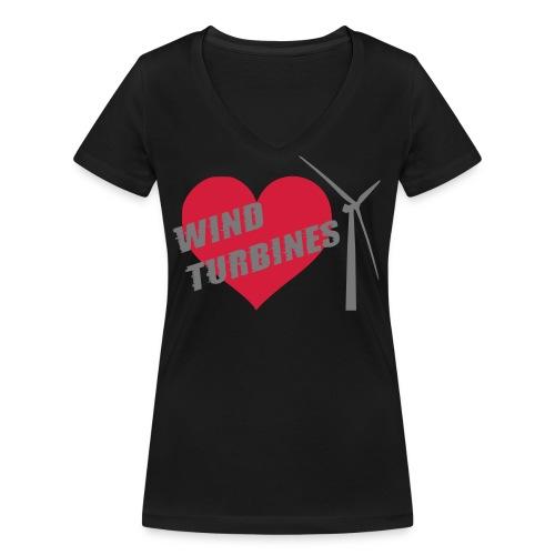 wind turbine grey - Women's Organic V-Neck T-Shirt by Stanley & Stella