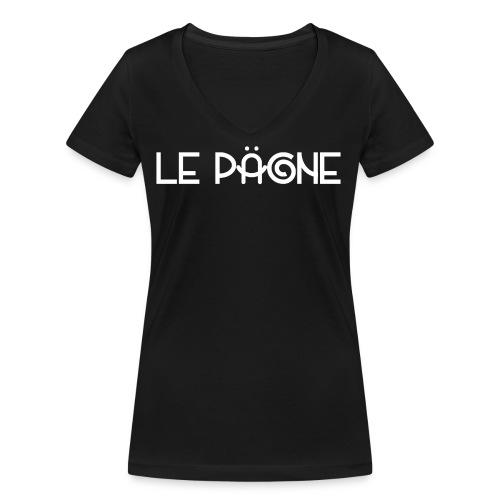 Le Pägne Logo Blanc - T-shirt bio col V Stanley & Stella Femme