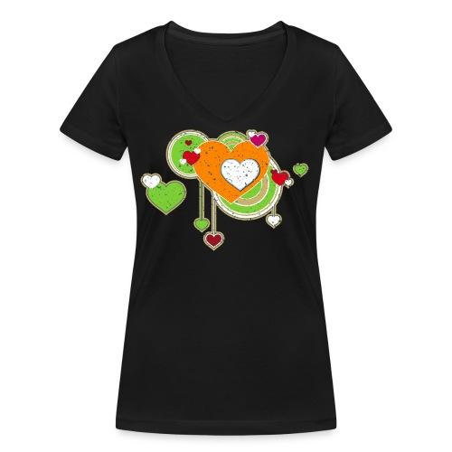 Liebe love Herzen hearts retro grunge Valentinstag - Women's Organic V-Neck T-Shirt by Stanley & Stella