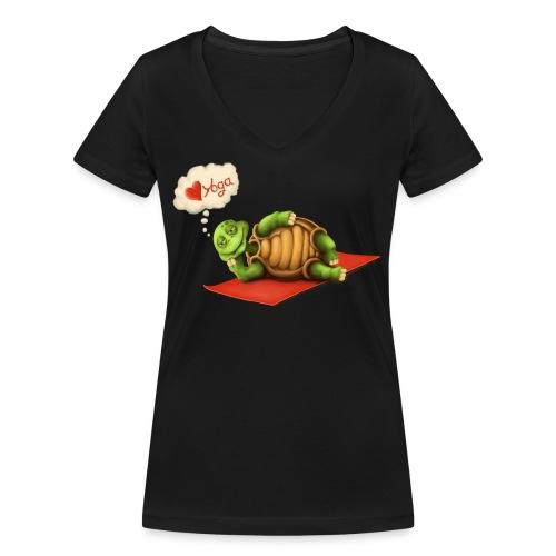 Love-Yoga Turtle - Frauen Bio-T-Shirt mit V-Ausschnitt von Stanley & Stella