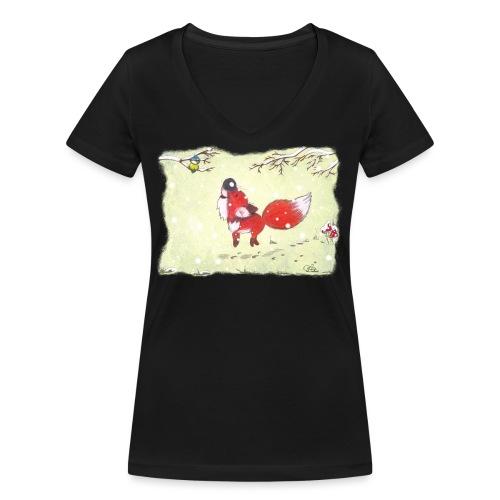 Hopsender Fuchs im Schnee - Frauen Bio-T-Shirt mit V-Ausschnitt von Stanley & Stella
