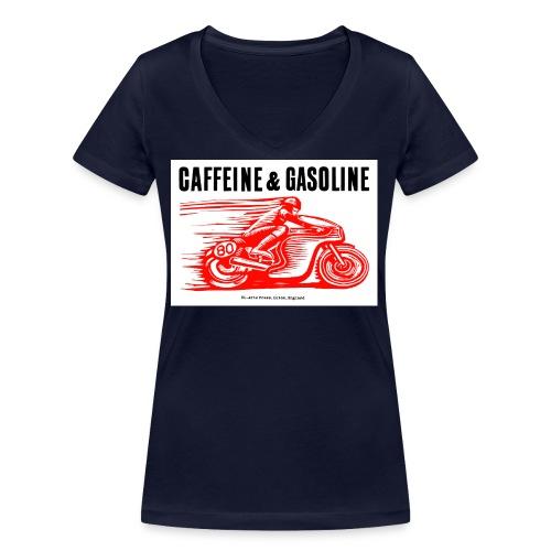 Caffeine & Gasoline black text - Women's Organic V-Neck T-Shirt by Stanley & Stella