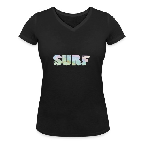 Surf summer beach T-shirt - Women's Organic V-Neck T-Shirt by Stanley & Stella