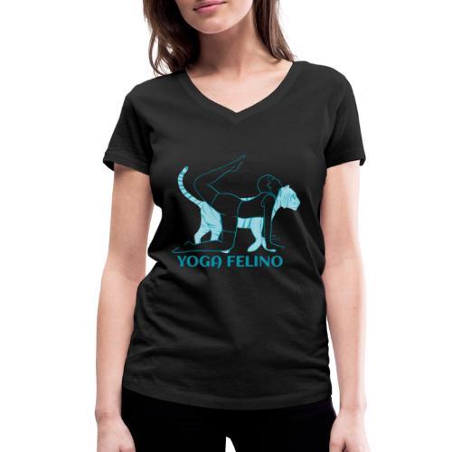 t shirt design YOGA FELINO - T-shirt ecologica da donna con scollo a V di Stanley & Stella