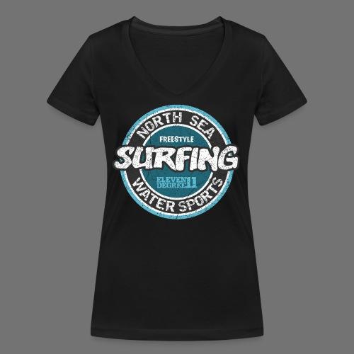 North Sea Surfing (oldstyle) - Ekologiczna koszulka damska z dekoltem w serek Stanley & Stella