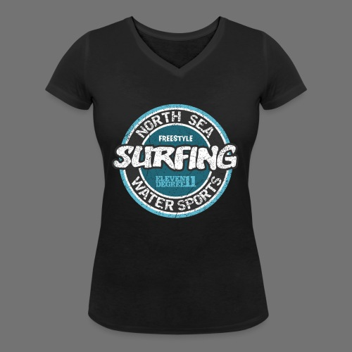 North Sea Surfing (oldstyle) - Women's Organic V-Neck T-Shirt by Stanley & Stella