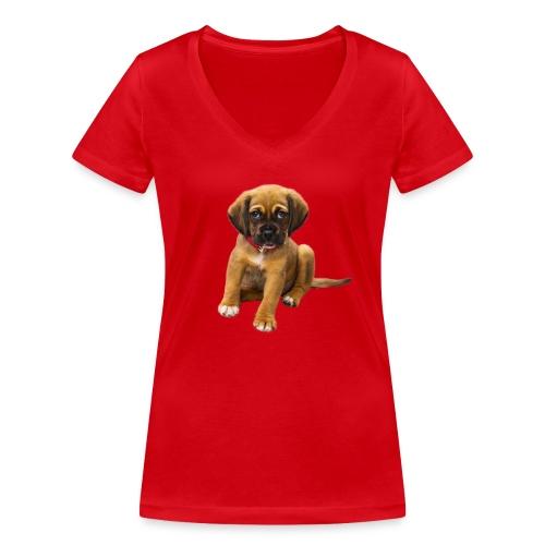 Süsses Haustier Welpe - Frauen Bio-T-Shirt mit V-Ausschnitt von Stanley & Stella