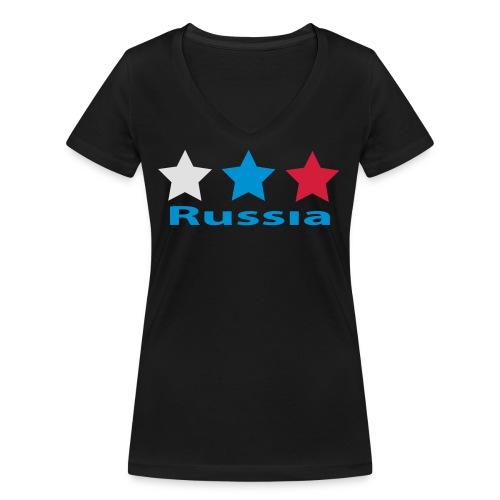 stars_russia - Frauen Bio-T-Shirt mit V-Ausschnitt von Stanley & Stella