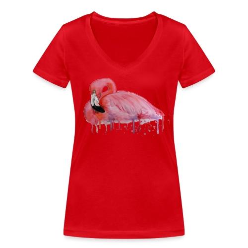 Pink Flamingo Watercolors Nadia Luongo - T-shirt ecologica da donna con scollo a V di Stanley & Stella