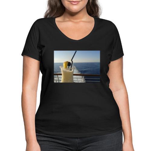 Cocktail Kreuzfahrt Meer Foto Schiff Ananas - Frauen Bio-T-Shirt mit V-Ausschnitt von Stanley & Stella