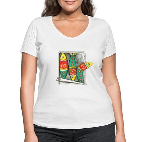 Les sardines du Portugal - T-shirt bio col V Stanley & Stella Femme