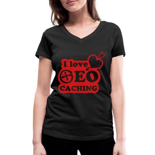 I love Geocaching - 1color - 2011 - Frauen Bio-T-Shirt mit V-Ausschnitt von Stanley & Stella