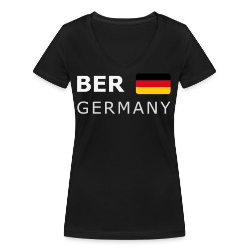 BER GERMANY GF white-lettered 400 dpi - Women's Organic V-Neck T-Shirt by Stanley & Stella