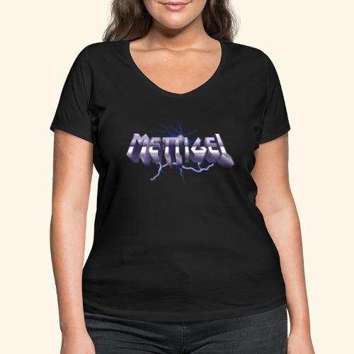 Mettigel T Shirt Design Heavy Metal Schriftzug - Frauen Bio-T-Shirt mit V-Ausschnitt von Stanley & Stella