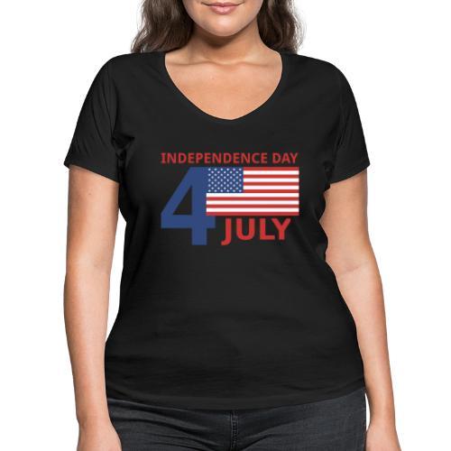 4 luglio giorno della indipendenza - T-shirt ecologica da donna con scollo a V di Stanley & Stella