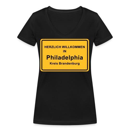 Ortsschild Philadelphia - Frauen Bio-T-Shirt mit V-Ausschnitt von Stanley & Stella