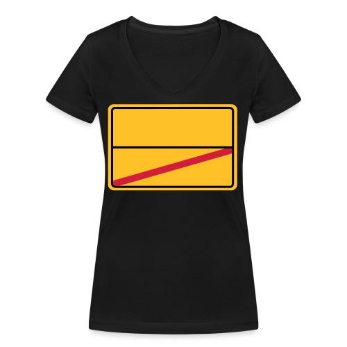 Ortsschild Ende - blanko - Frauen Bio-T-Shirt mit V-Ausschnitt von Stanley & Stella