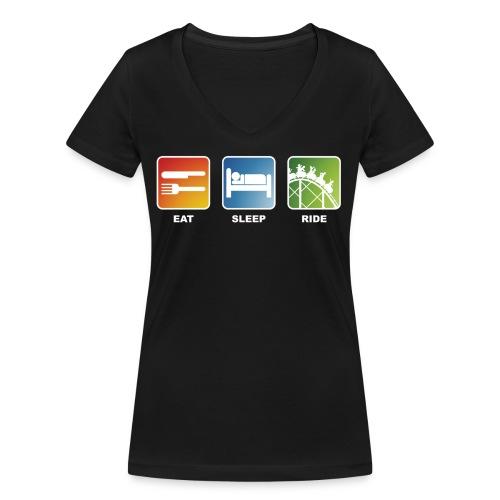 Eat, Sleep, Ride! - T-Shirt Schwarz - Frauen Bio-T-Shirt mit V-Ausschnitt von Stanley & Stella
