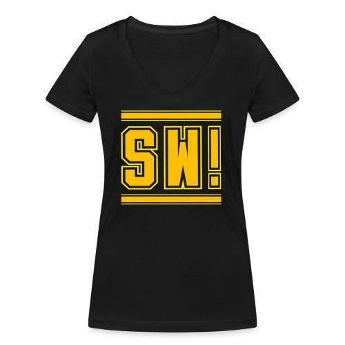 SUPER WANG!, Kontrast Hoodie, schwarz-gelb, mit Lo - Frauen Bio-T-Shirt mit V-Ausschnitt von Stanley & Stella