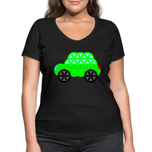 The Car Of Life - M01, Sacred Shapes, Green/R01. - Women's Organic V-Neck T-Shirt by Stanley & Stella