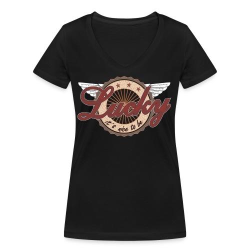It´s nice to be Lucky - Frauen Bio-T-Shirt mit V-Ausschnitt von Stanley & Stella