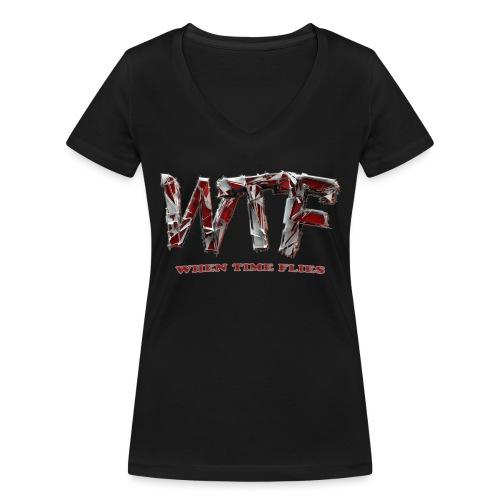 WTF (when time flies) - Women's Organic V-Neck T-Shirt by Stanley & Stella