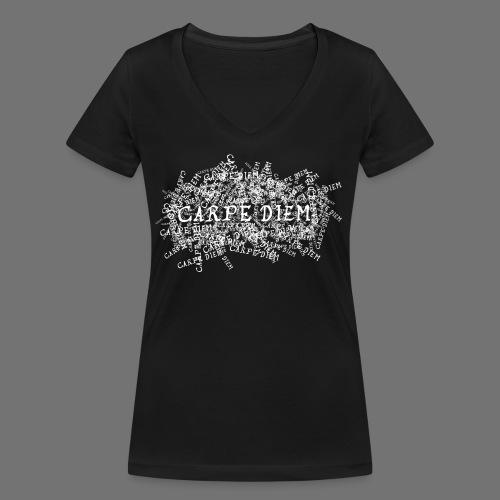 carpe diem (valkoinen) - Stanley & Stellan naisten v-aukkoinen luomu-T-paita